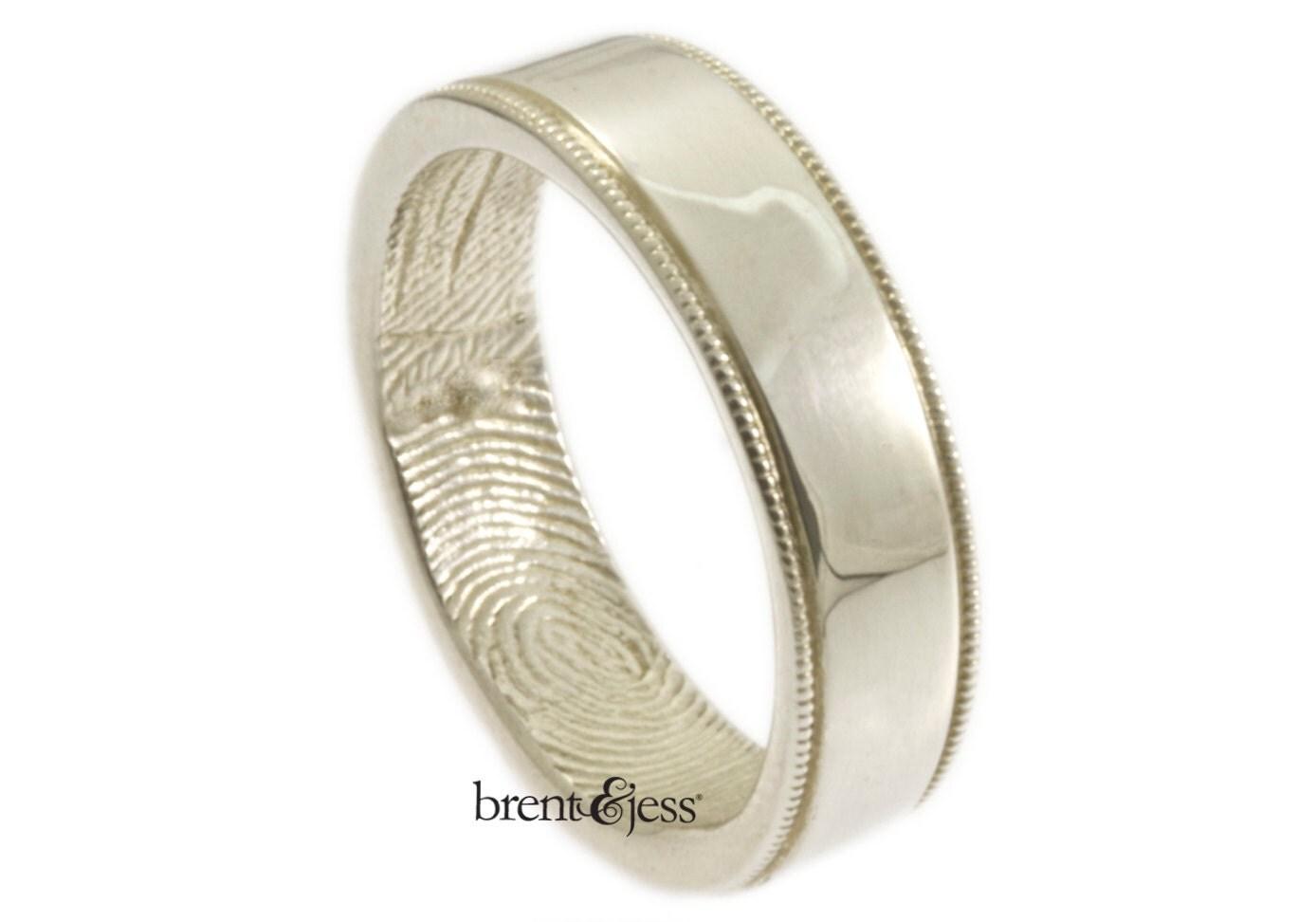 wide milgrain edge fingerprint wedding band with interior