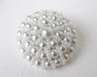 Vintage Button White Pearl Seed Beads Bridal Sewing Shank 40mm but0177 (1)