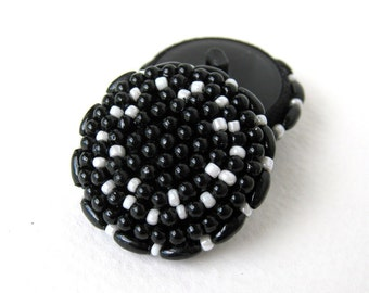 Vintage Button Seed Beads Black White Sewing Shank Acrylic Plastic 35mm but0176 (2)
