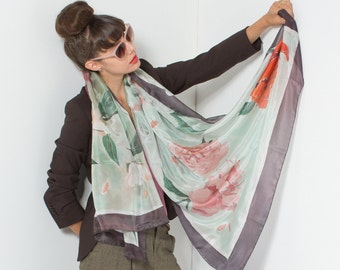 Silk shawl- Minty Peonies. Hand painted silk scarf. Floral wrap scarf. Oversized scarf pareo. Pink minty shawl, Mother's Day gifts