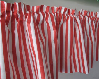 Red white stripe valance kitchen curtain custom curtains and drapes