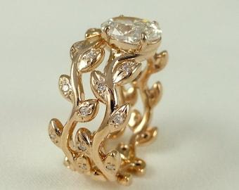Leaf diamond engagement ring set.    Rustic ring. 14k pink gold diamond ring