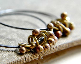 Hoop earrings, sterling silver and brass, hand forged, oxidized, rustic jewelry - Ashes and Bones