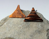 Copper Triangle Earrings, Post Earrings