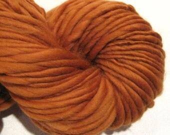 bulky thick n thin handspun yarn Burnt Orange thick and thin bulky singles merino yarn, 60 yards, red merino wool top