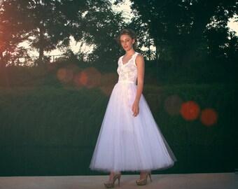 Razor Back Lace Sheath Dress with Detachable Tulle Skirt