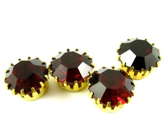 2 - Vintage Round Stones in Closed Back Brass Crown Settings with NO RING - Siam Red - 11mm
