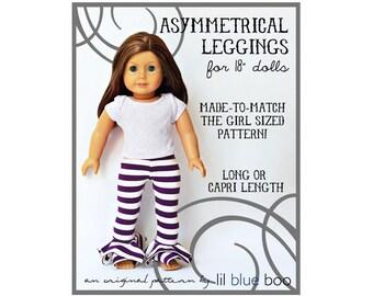 DIY PDF Pattern and Tutorial - Asymmetrical Leggings for 18 inch Dolls  - American Girl, My Generation