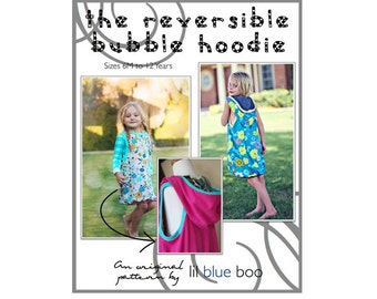 DIY PDF Sewing Pattern and Tutorial - Reversible Bubble Layering Hoodie Dress for Girls - Sizes 6M through 12
