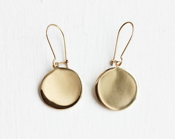 Circle Earrings Gold, Gold Disc Earrings, Gold Drop Earrings, Round Gold Earrings, Gold Earrings, Gold Dangle Earrings, Gold Hook Earrings