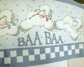 Daisy Kingdom Baa Baa Lamb Headboard Shaped Fabric Panel -Cut Outs and Applique Fabric