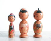 Vintage Kokeshi Doll Collection / Japanese Bobble Heads / Nodders