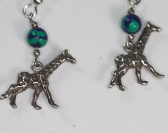 Sterling Giraffe Dangle Earrings Azurite Malachite Accents