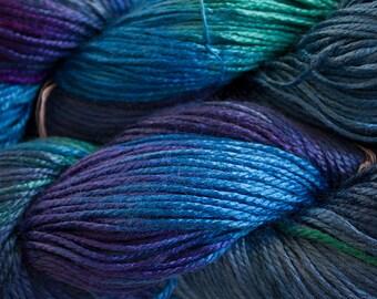 Silk Bamboo, Hand painted yarn, 225 yds - Deep Blues