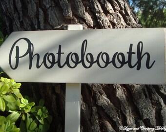 PHoToBooTH SiGn - Directional Wedding Arrow SIGN - Vintage Woodland Wedding Sign - 2ft Stake - Ivory Wash Finish