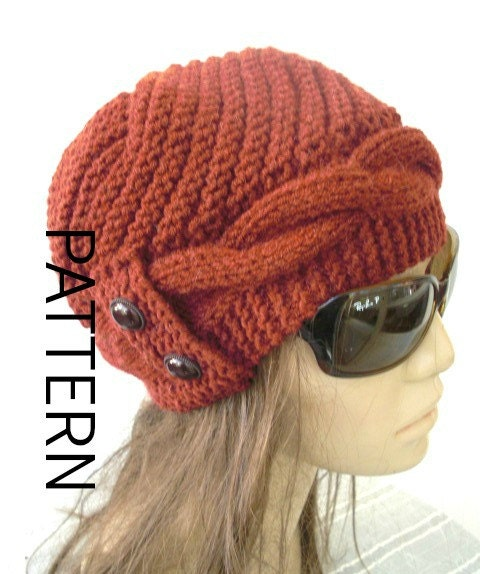 Knitted Hat Patterns For Ladies : Winter Knitting Pattern hat Instant Download hat pattern