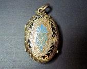 Antique Victorian Locket - Pendant - Blue - Black - Enamel - Gold Filled - Keepsake -1870s