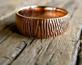 Finger Print Wedding Ring in 14K Rose Gold with Satin Finish and Handwritten Quote Engraving Inside Size 9.5/7mm