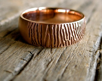 Finger Print Wedding Ring in 14K Rose Gold with Satin Finish and Handwritten Quote Engraving Inside Size 9