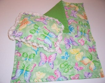 Doll bedspread/blanket with matching pillow-green.