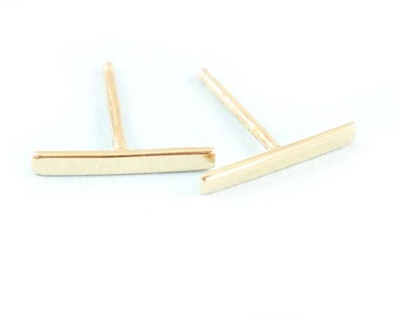 14K Gold Bar  Earrings, Studs Earrings,  Silver post earrings, Gold post earrings, Petite Earrings.