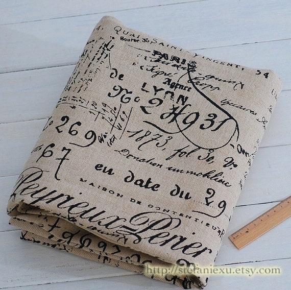 French style home decor basket linen fabric retro vintage look - Tissu ameublement vintage ...