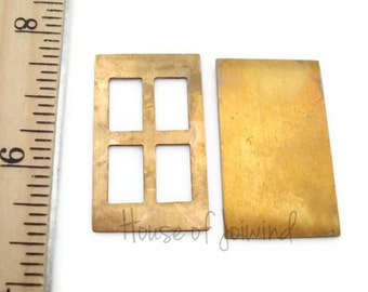 2 Sets - Brass Stamping Blanks DOOR PANE Cut-out Rectangle 33x20mm - Place Image Between Pieces for a Brilliant Charm, Necklace or Pendant