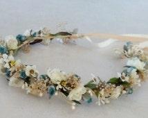 bridal shower Floral Crown aqua teal Daisy Hippie headwreath wedding accessories bohemian dried flower wreath for hair boho halo baby wreath