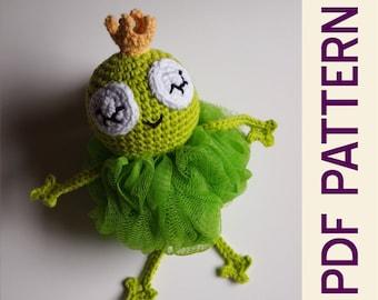 Amigurumi Crochet Sleepy Frog Prince Bath Scrubby Pdf Pattern