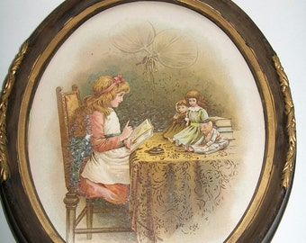 Antique Childrens Print  Book Illustration in Oval Frame Shabby Victorian Print