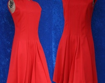 Vintage 60s 1960s Sleeveless Polyester Dalton Stewardess Mod Shift Mad Men Box Pleats Dress Red