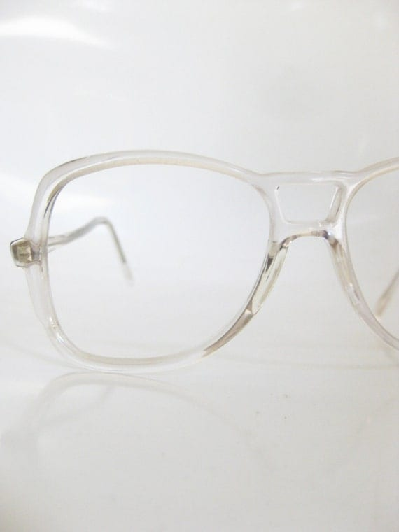 80s crystal clear aviator eyeglasses 1980s unisex glasses see