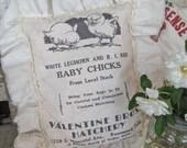 "Vintage Style Farmhouse Feedsack Sawdust Pillow Advertising Country Cottage Shabby Ruffle Floursack Feed Sack ""Valentine Bros. Hatchery"""