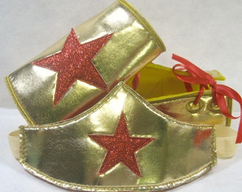 Wonder Woman Costume, wonder woman accessories, Tiara, Cuffs, Headband, Bracelets