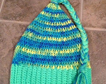 Crochet Adult Elf/ Pixie hat in fluorescent green, blue and yellow