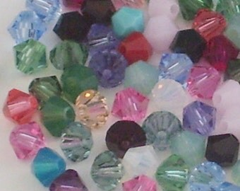100 Assorted 4mm Crystal Bicone Beads // Accent Bead Mix // Variety Pack