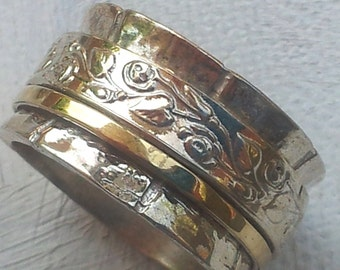 Spinner ring silver gold designer jewelry floral Israeli rings in all sizes