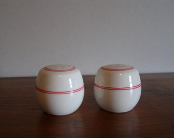 Round n Round. Vintage Salt and Pepper Shakers - Soft White with Red Stripes - Made in Japan - Primitive Rustic Appeal - Mid Century Modern