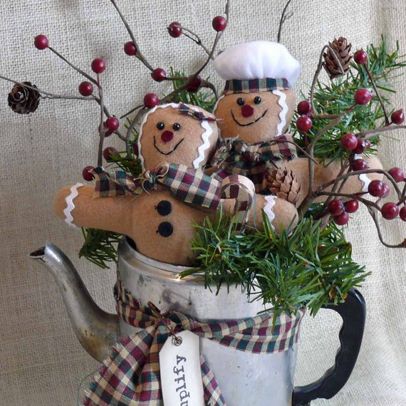 Gingerbread man holiday centerpiece by snowmancollector on