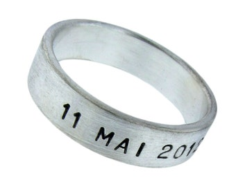 Sterling Silver Birth Date Ring Personalized Unisex Commemorative Jewelry Hand Stamped Names Dates Initials Custom Engraved Artisan Handmade