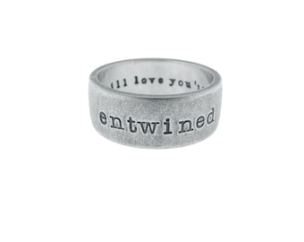 Solid Sterling Silver Custom Band Personalized Wedding Ring Hand Stamped Vows Names Engraved Artisan Handmade Fine Unisex Jewelry