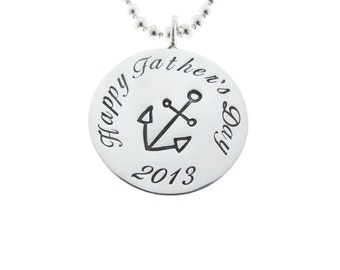 Custom Men's Silver Pendant Necklace Hand Stamped Father's Day Dad Jewelry Personalized Engraved Artisan Handmade Fine Designer Fashion
