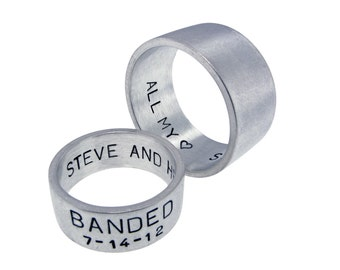 Personalized Sterling Silver Wedding Rings Hand Stamped Date Names Custom His and Her Unisex Band Set Engraved Artisan Handmade Fine