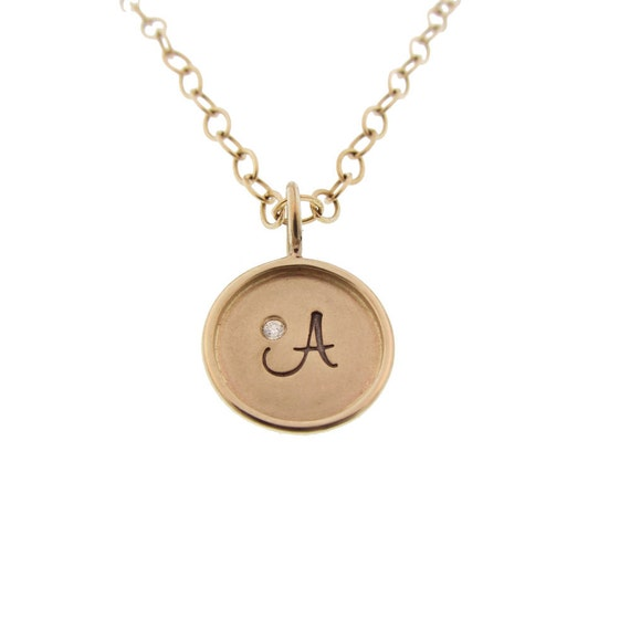 Gold Initial Necklace - Personalized with Initial & Diamond Birthstone, Monogram, Name Necklace, Gift for Her, Gold Chain, 14K Mama Necklace