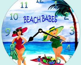 "Beach Babes funny art wall clock -11"" round"