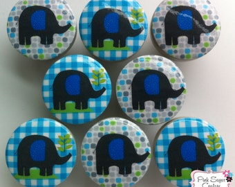 BROOKS elephant drawer pulls boys blue gray gingham dots Kids Nursery Room ... so cute