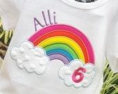 Girls Rainbow shirt, Rainbow birthday shirt, personalized rainbow shirt, Ideas for rainbow birthday, rainbow shirt, rainbow birthday party