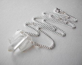 Quartz point bar necklace, triple raw quartz natural crystal necklace on silver chain