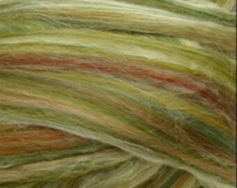 Merino Wool/ Silk Roving, Green Fields , 4 ounces