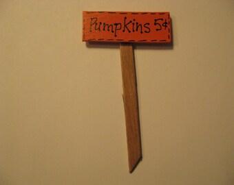 Fairy Garden Sign, Miniature Garden Sign, Pumpkins, Halloween, Fall Sign